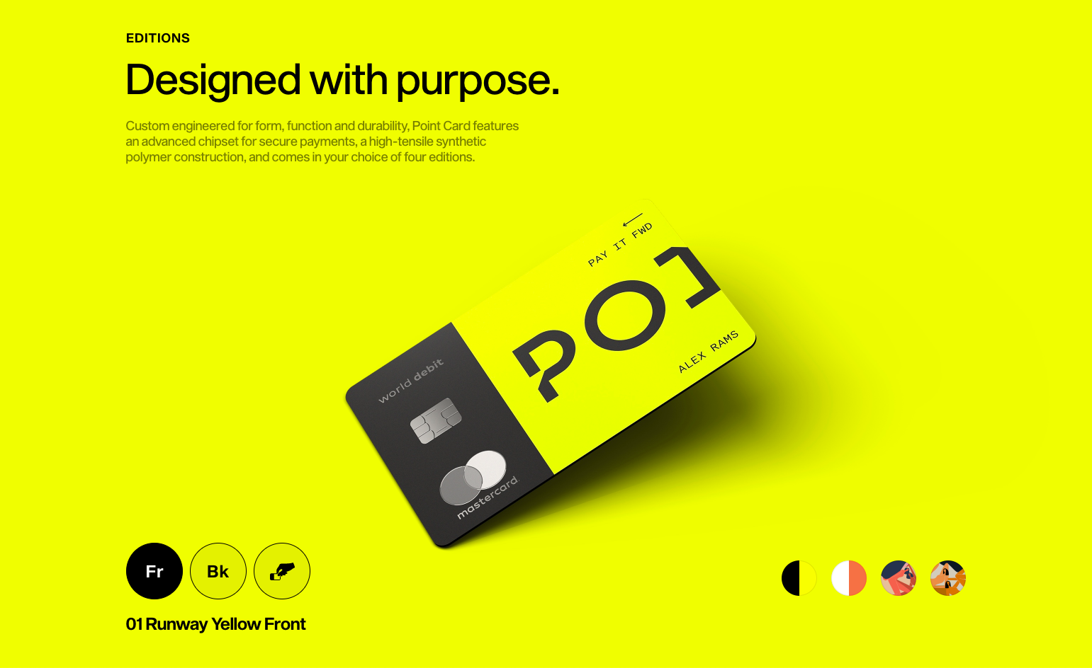 Yellow Point card website mockup