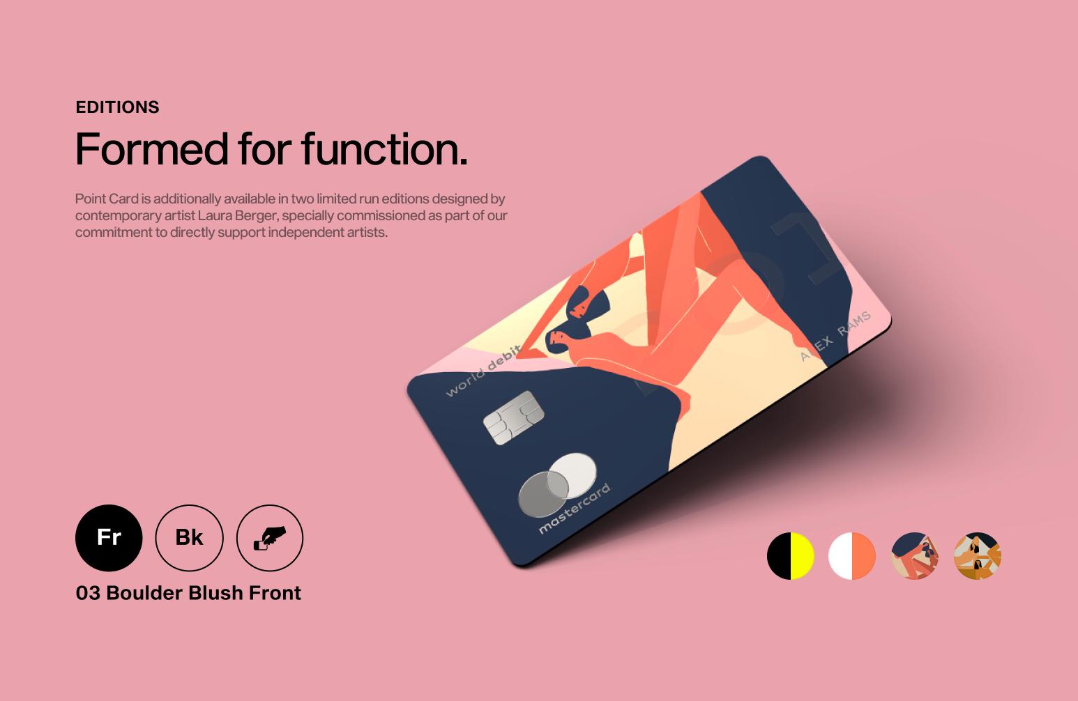 Point card website with pink bakcground