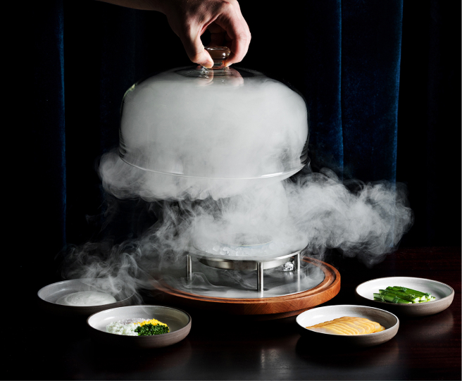 Food covered in smoke