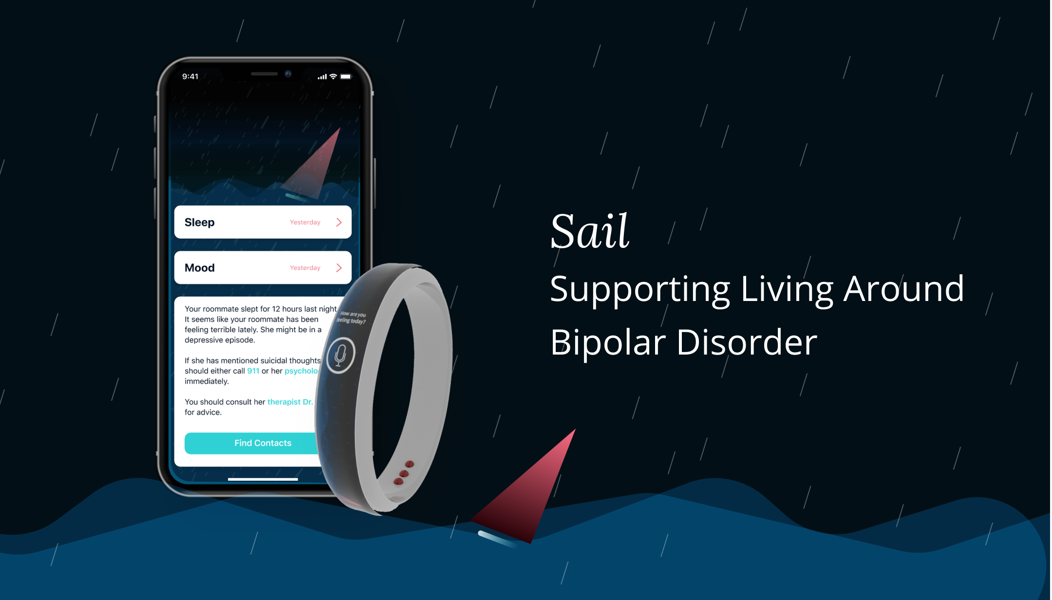 The sail app on a dark background