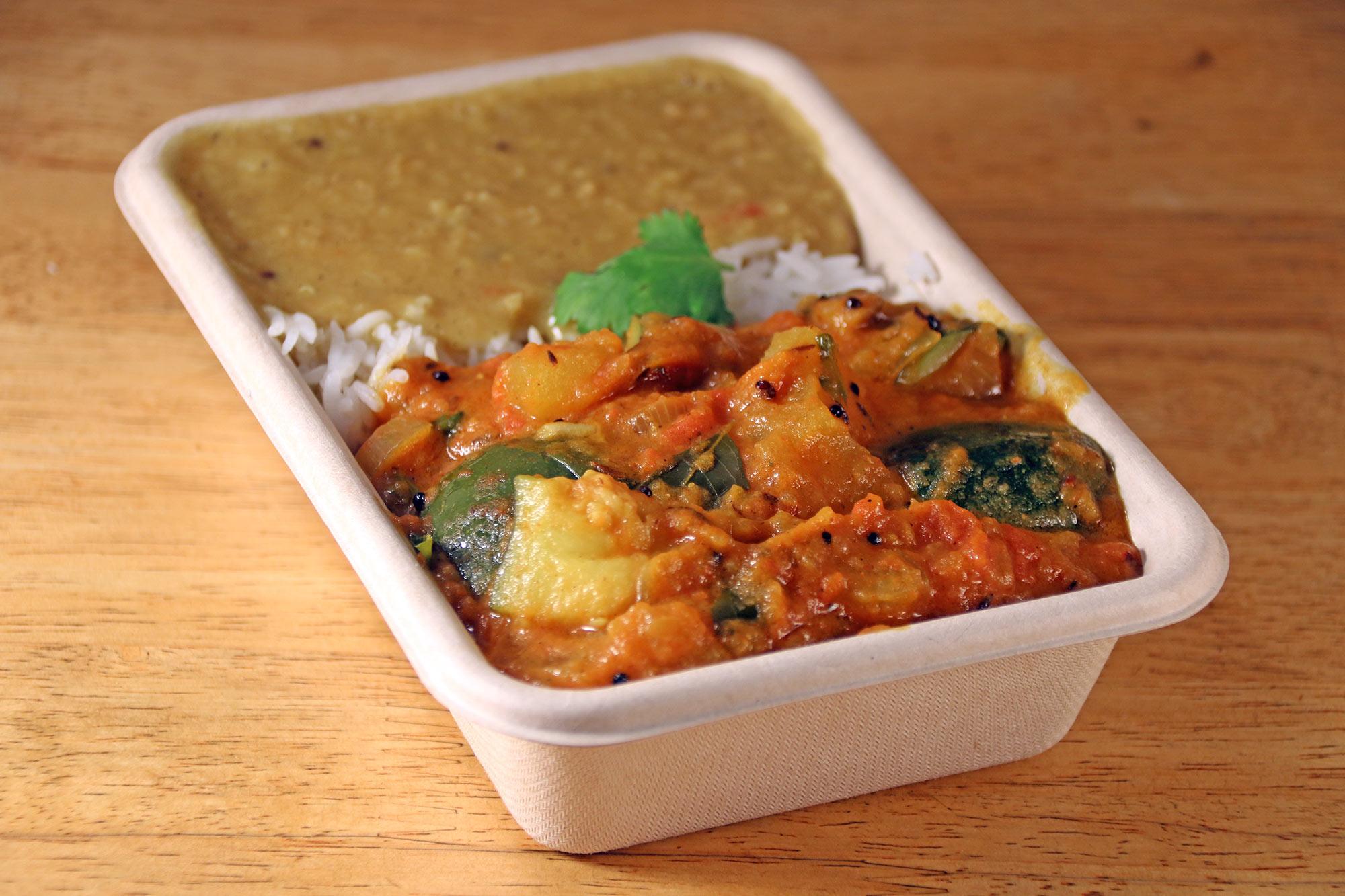 South Indian potato, zucchini & mushroom curry