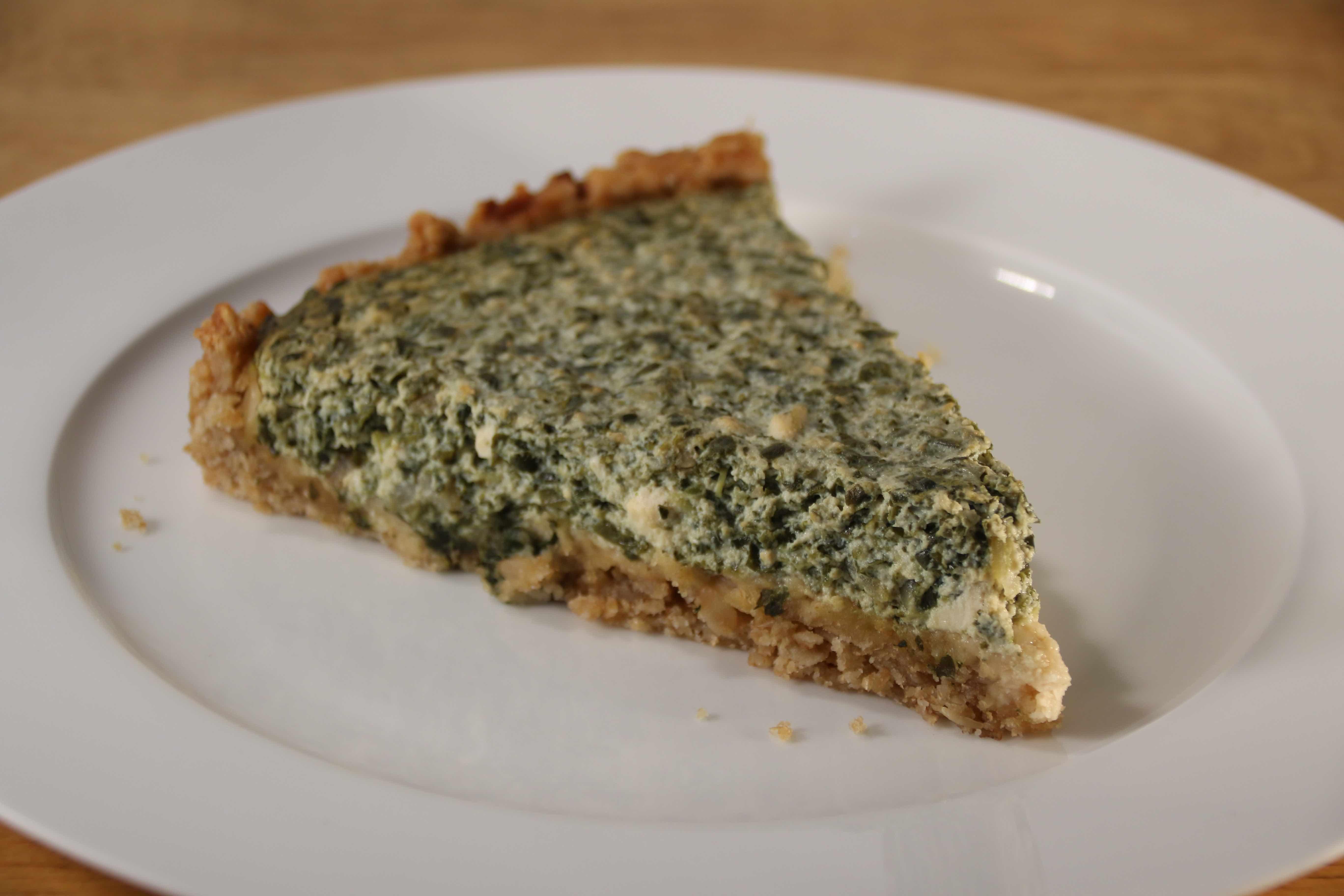 Tofu spinach quiche
