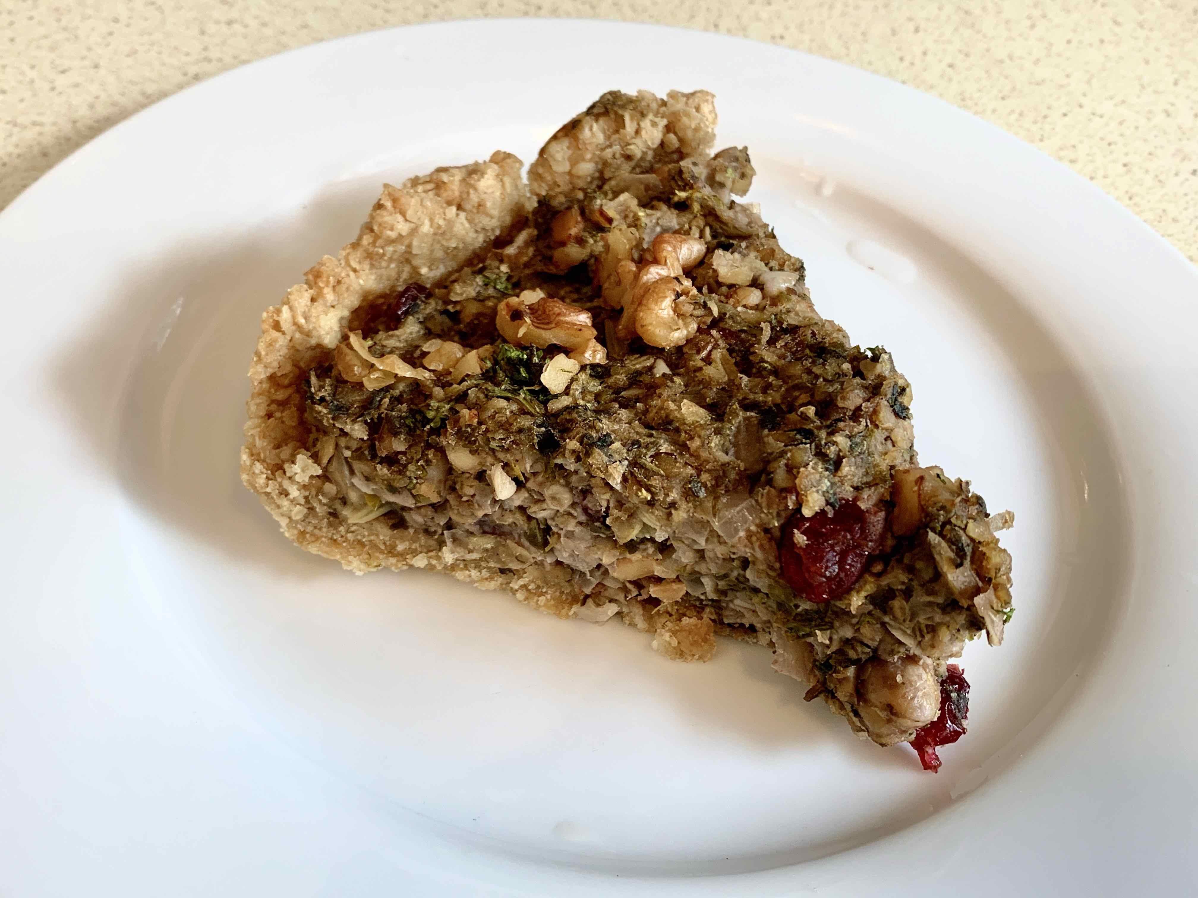 Chickpea, cranberry & walnut tart
