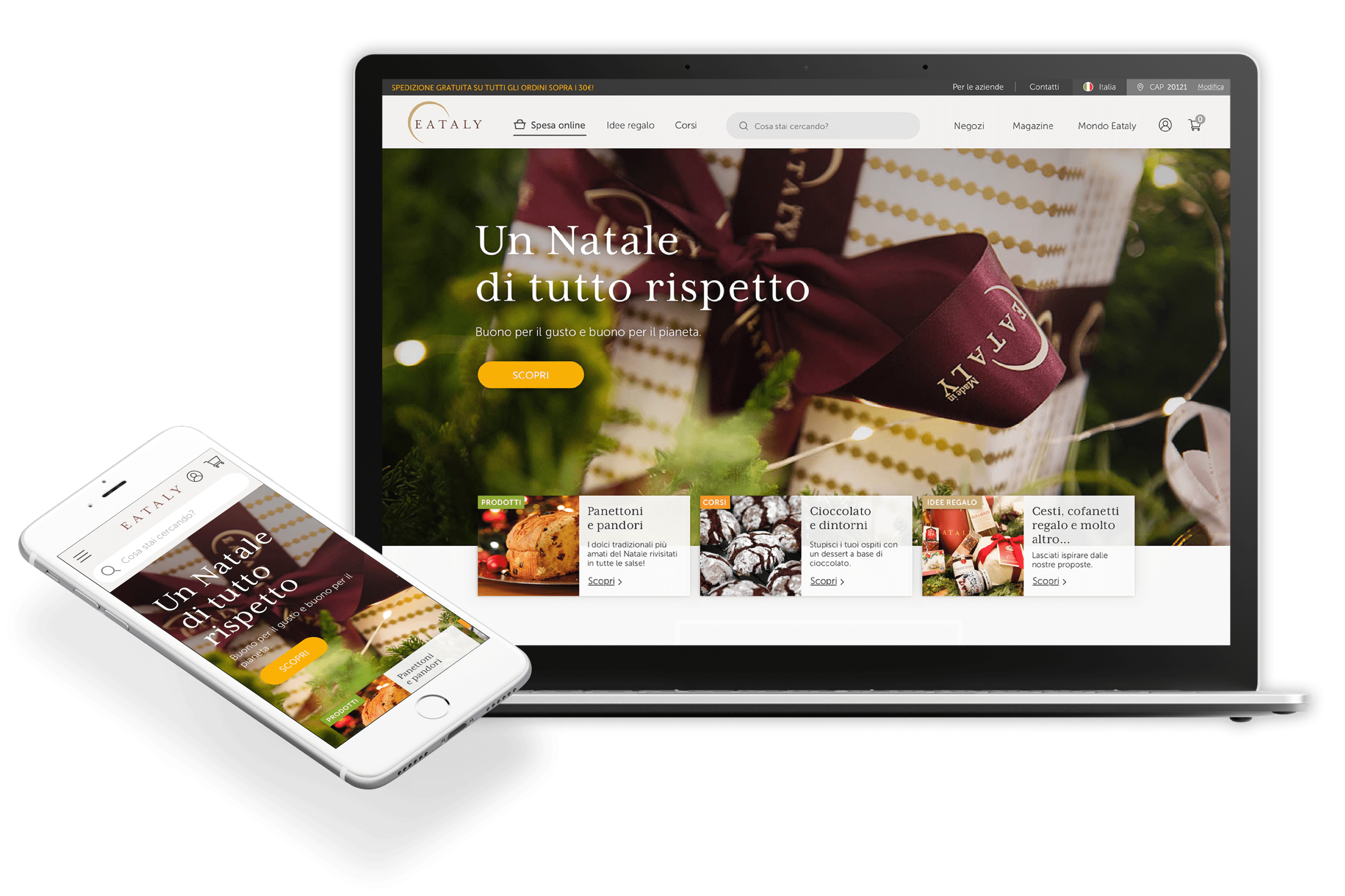 Preview of Eataly's new website on desktop and mobile.