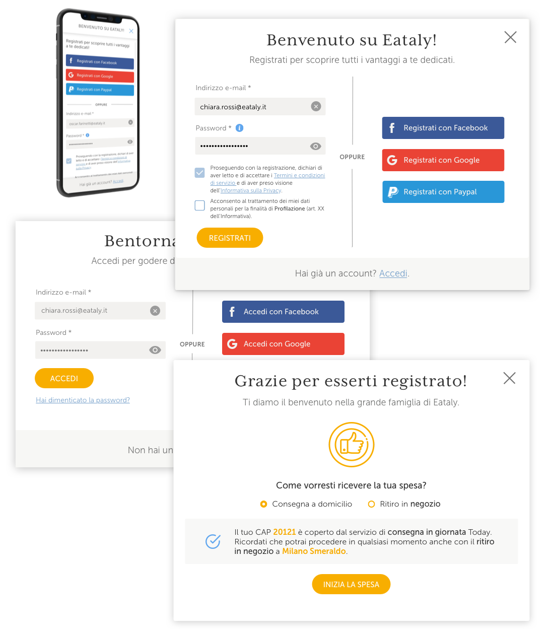 Registration and log-in screens