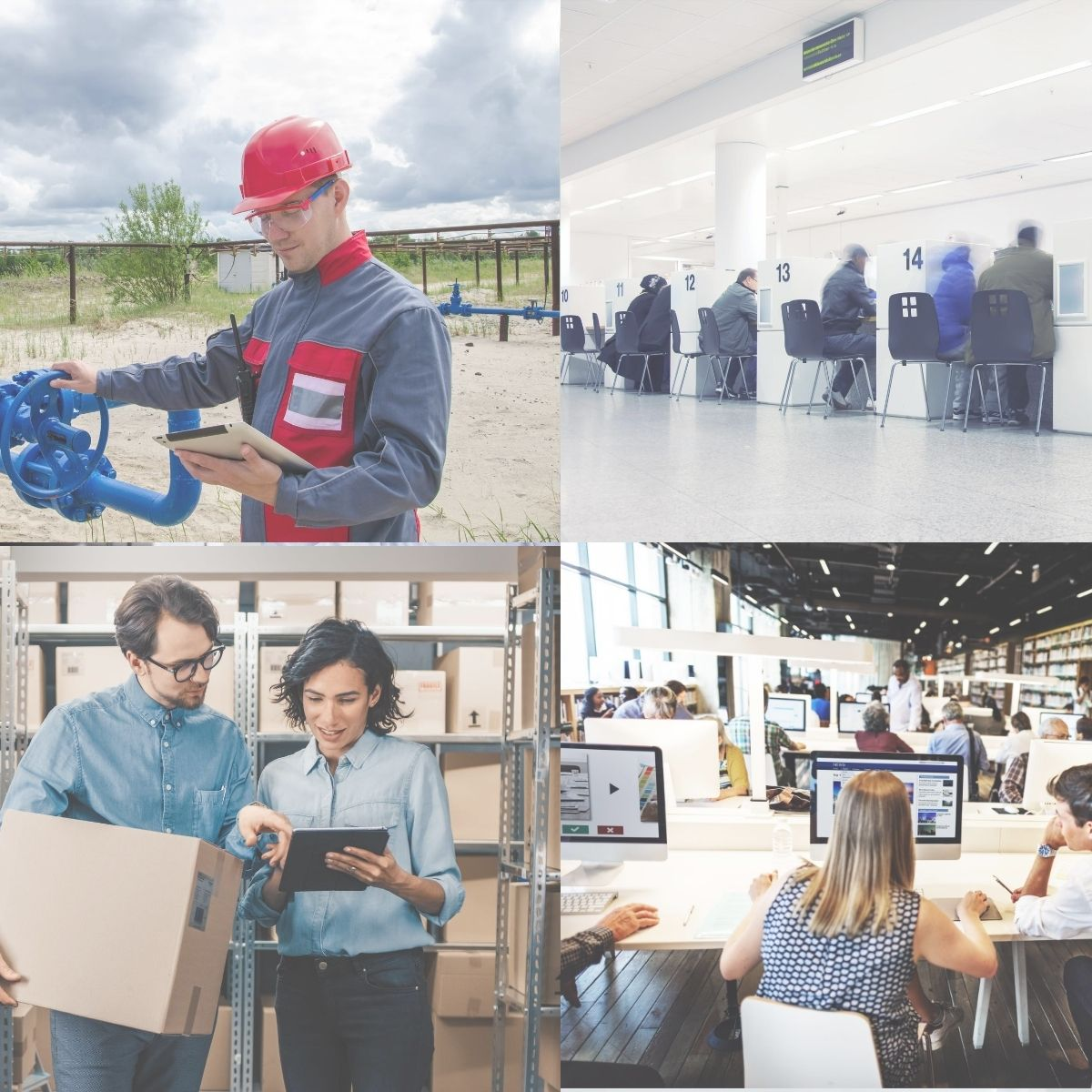Collage of four pictures: Man looking at a tablet, government office, two people in a warehouse, and people working in an office