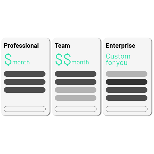 Icon showing three types of pricing: Professional, Teams, Enterprise