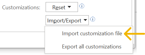 Screenshot of how to import a customisations file