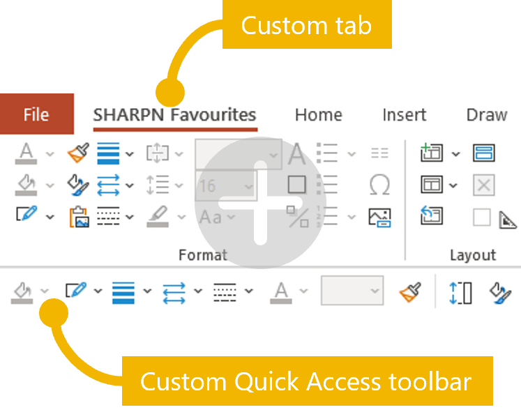 Screenshot illustrating the positions of the custom ribbon tab and the Quick Access Toolbar