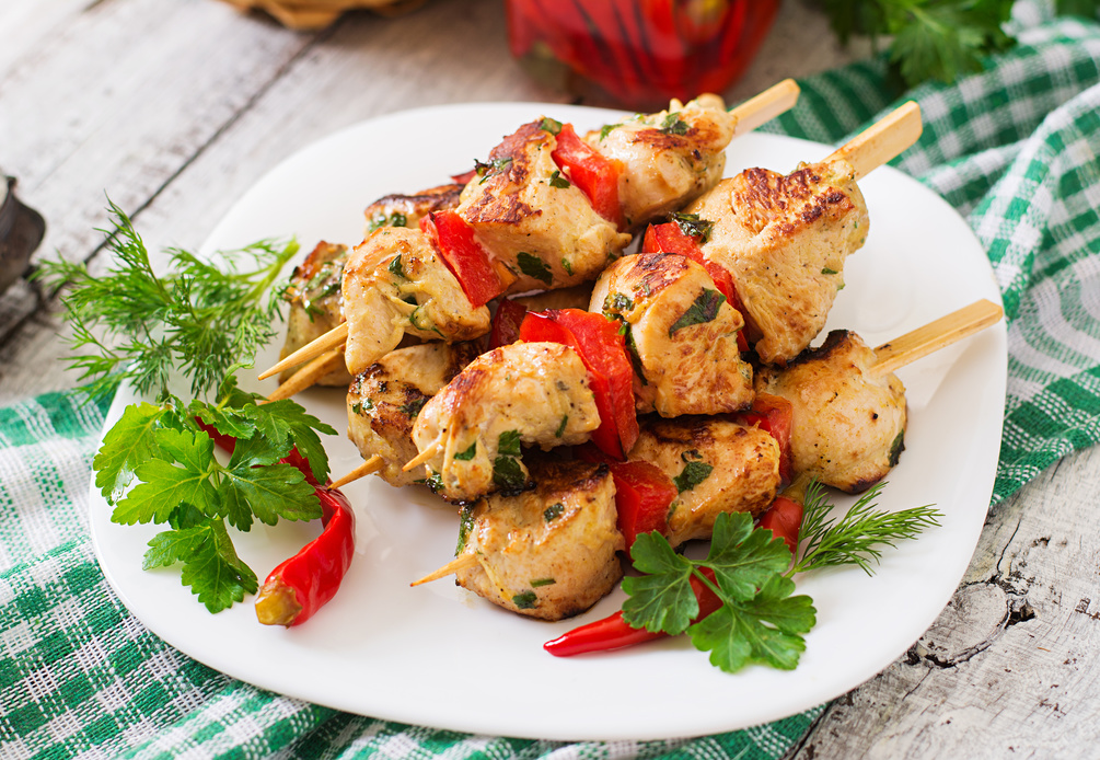 Jerk style chicken and pepper kebabs