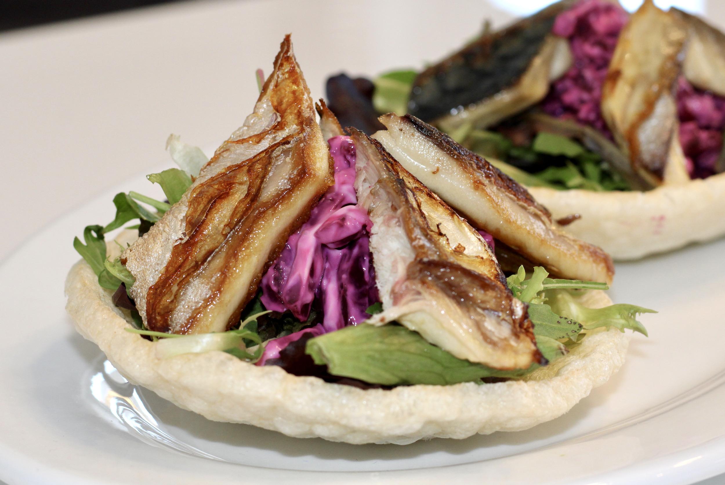 Mackerel & beetroot horseradish remoulade broghie