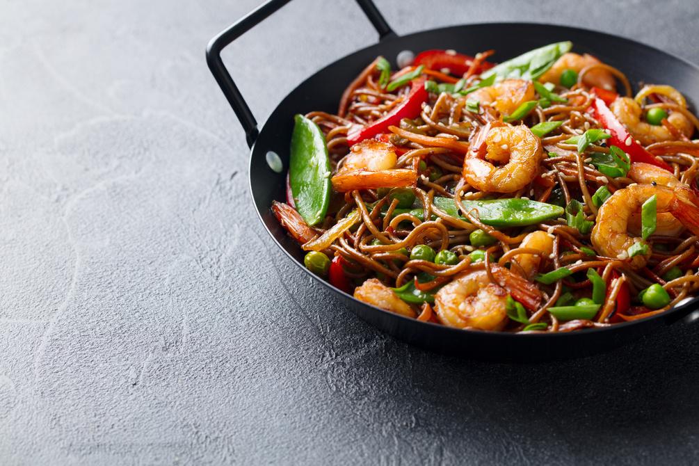 Ginger, sesame and soy king prawn noodles