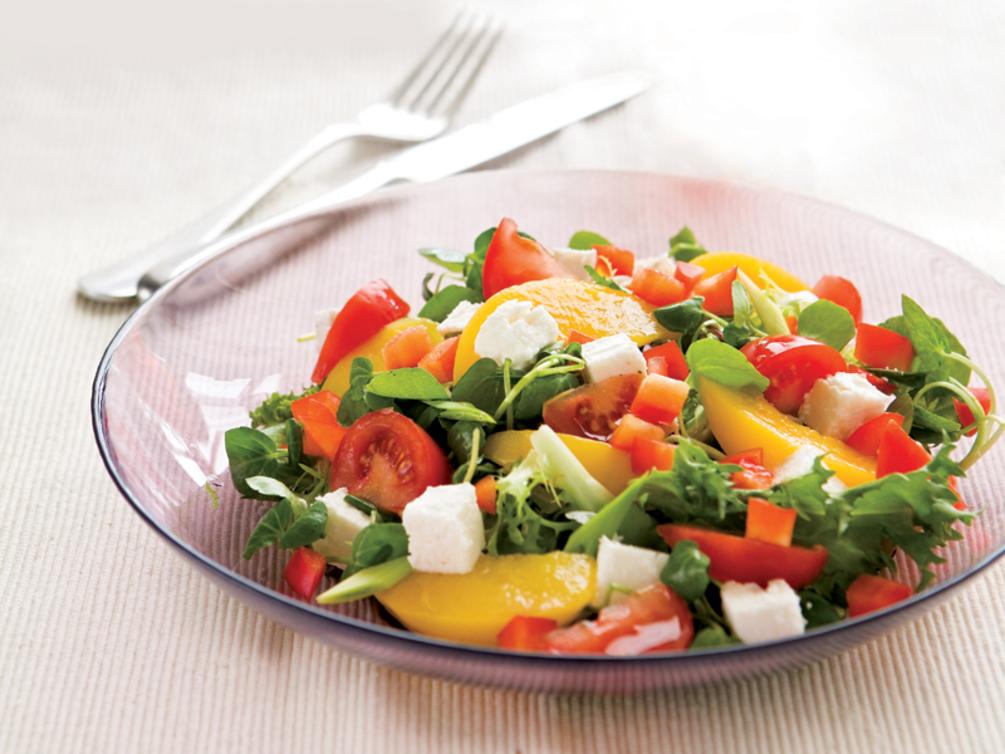 Feta and peach salad