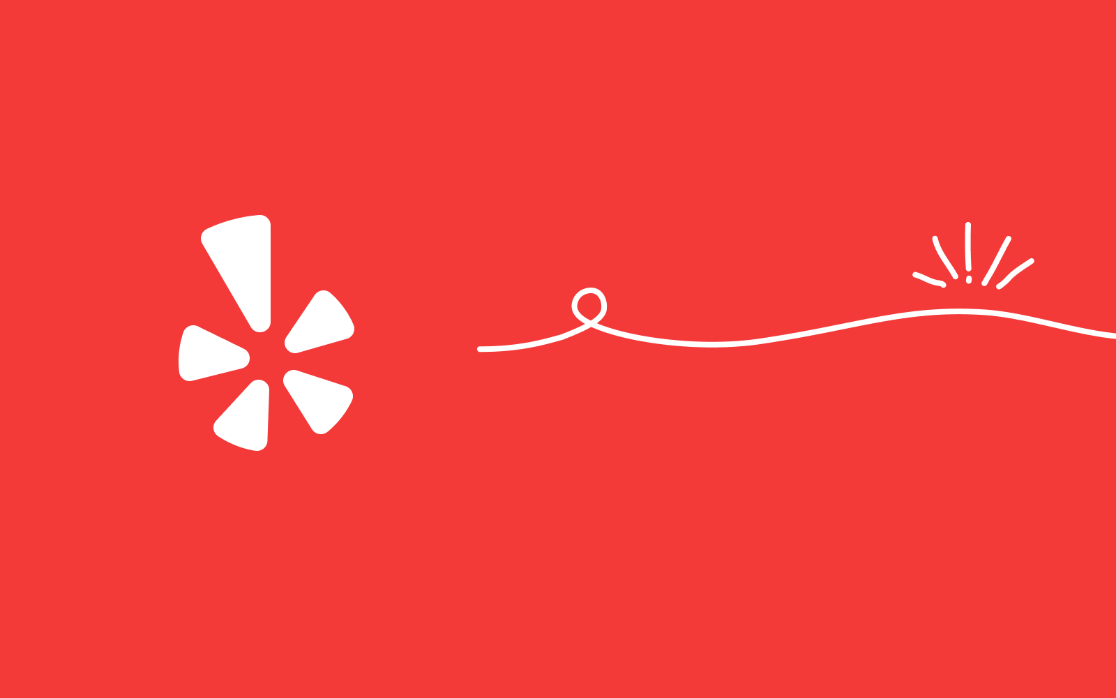 Red background with Yelp's burst logo in white