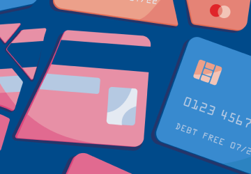 Broken up credit cards to imply bad debt