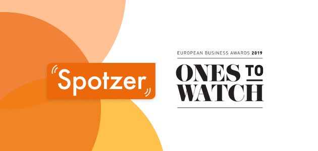 Spotzer logo with Spotzer abstract background, text 'Ones to Watch'