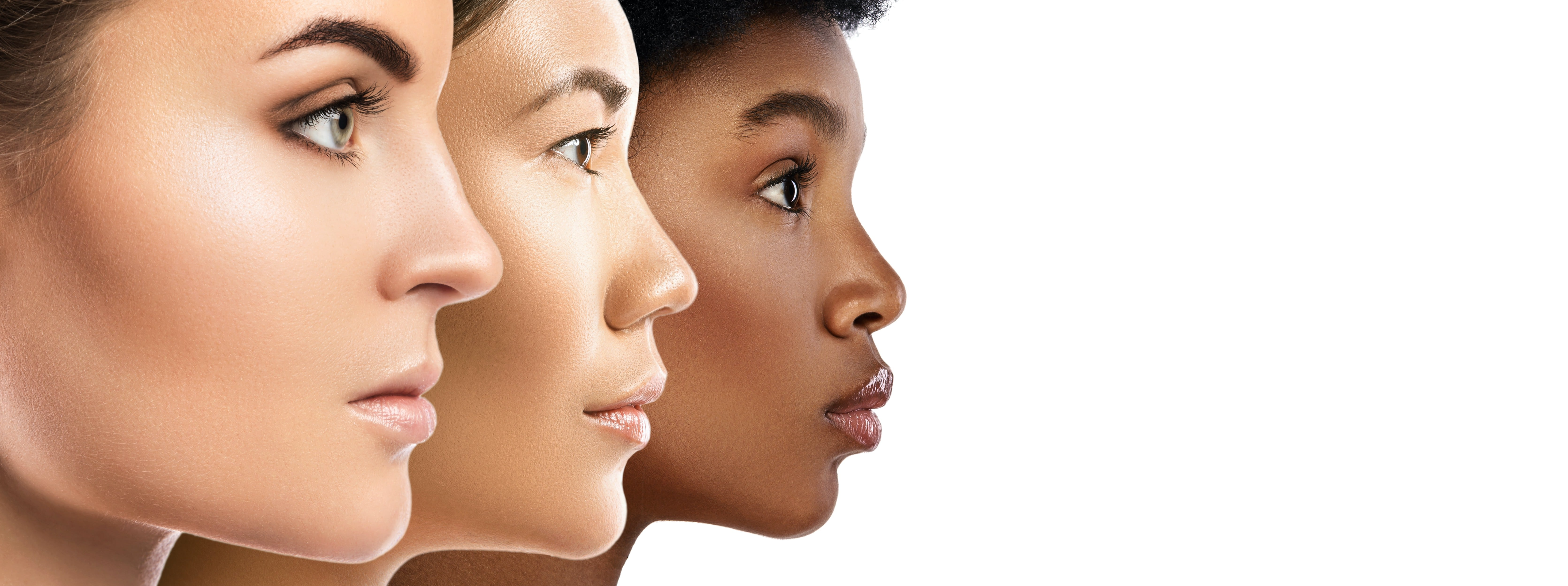 This is a photo of three womans with different skin color . Their different ethnic skins origins symbolize our various skin cells models for dermo-cosmetic industry.