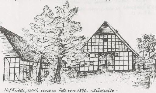 Hof Kriege deur Rudolph Kriege – skets vanaf foto (1896)