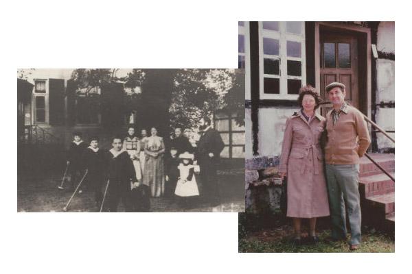 Links: Krieges voor Das Hohe Haus in Lienen. Regs: Ode en Johan Krige besoek Lienen 1978