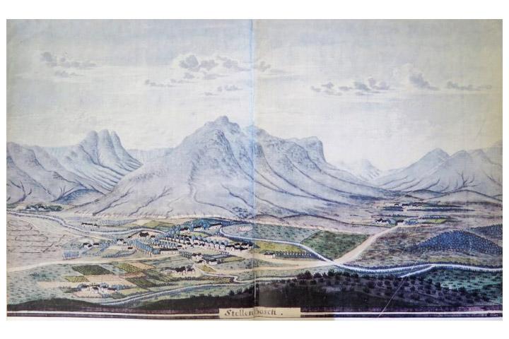 Stellenbosch in die tyd van die Tweede Generasie: akwarel deur Schumacher in 1776