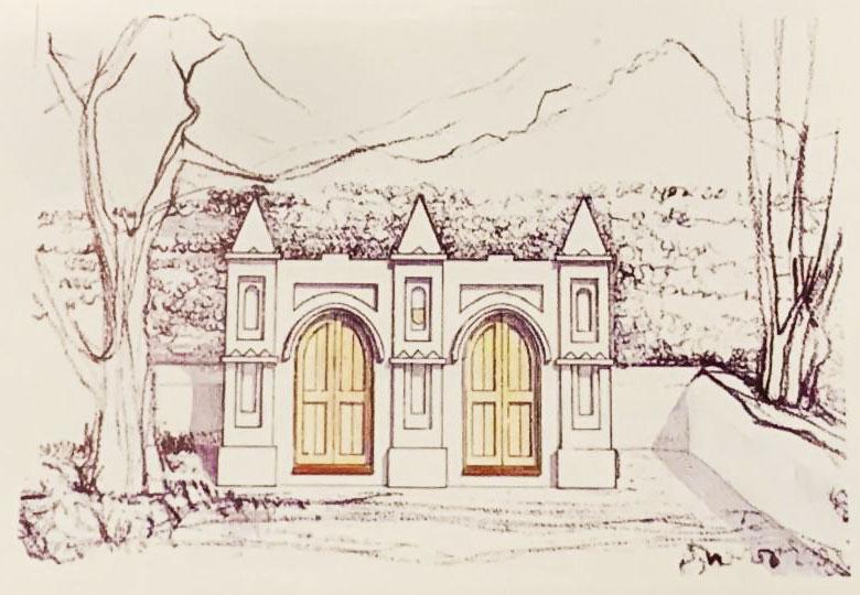 Skets van Krige Grafkelder by Moederkerk in Stellenbosch