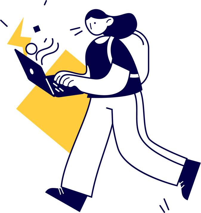 An illustration of someone on a laptop