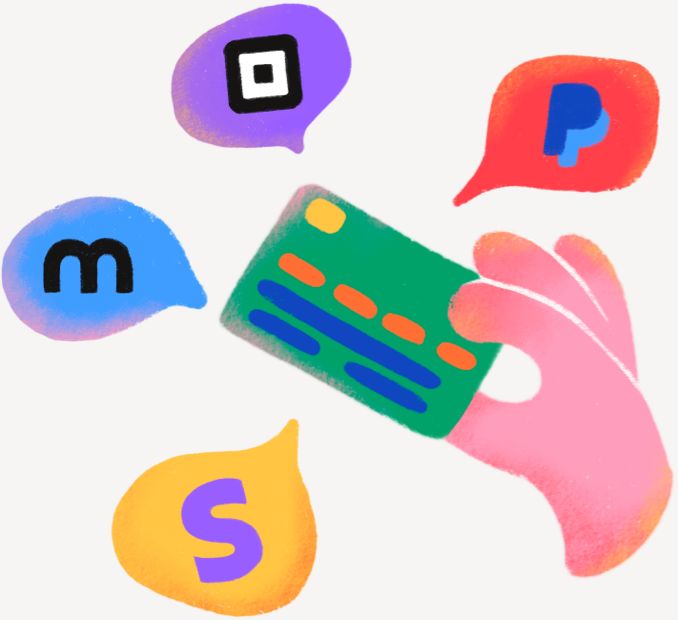 Illustration displaying our available payment methods
