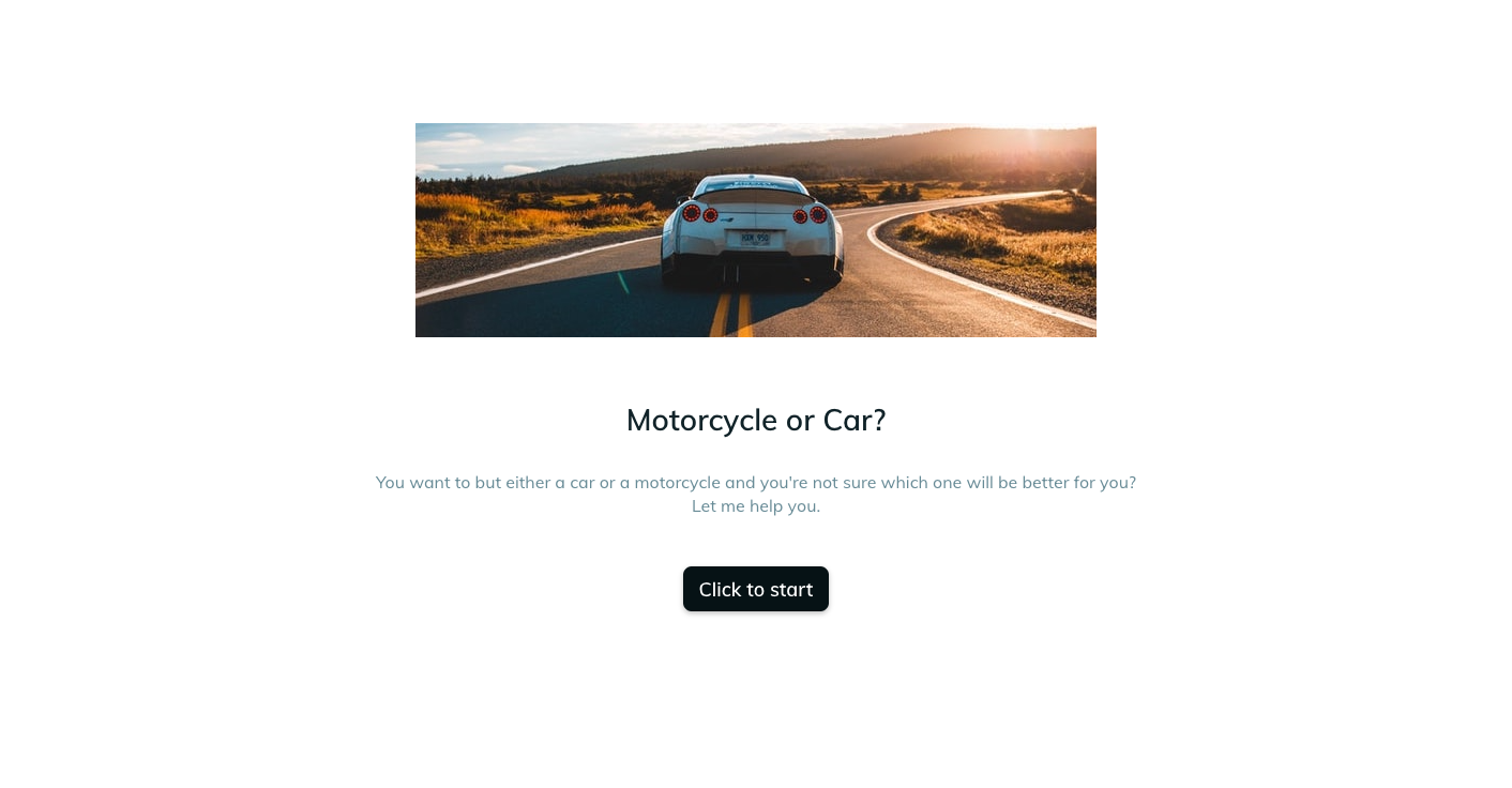Template example of a car quiz