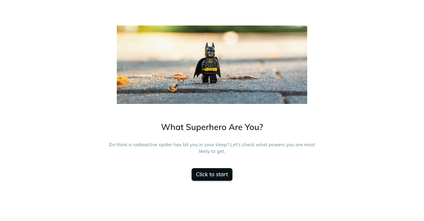 Template example of a superpowers quiz