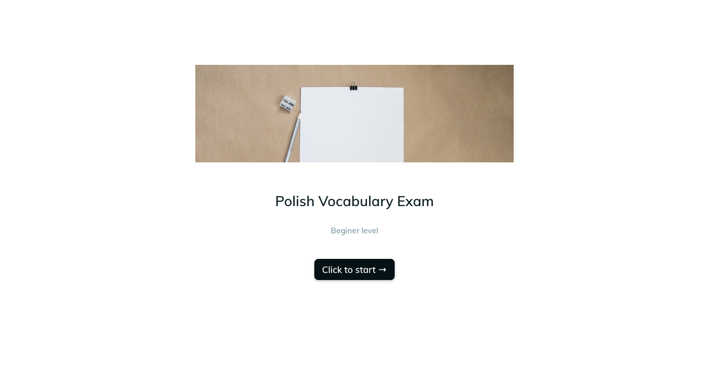 Template example of a polish vocabulary assessment