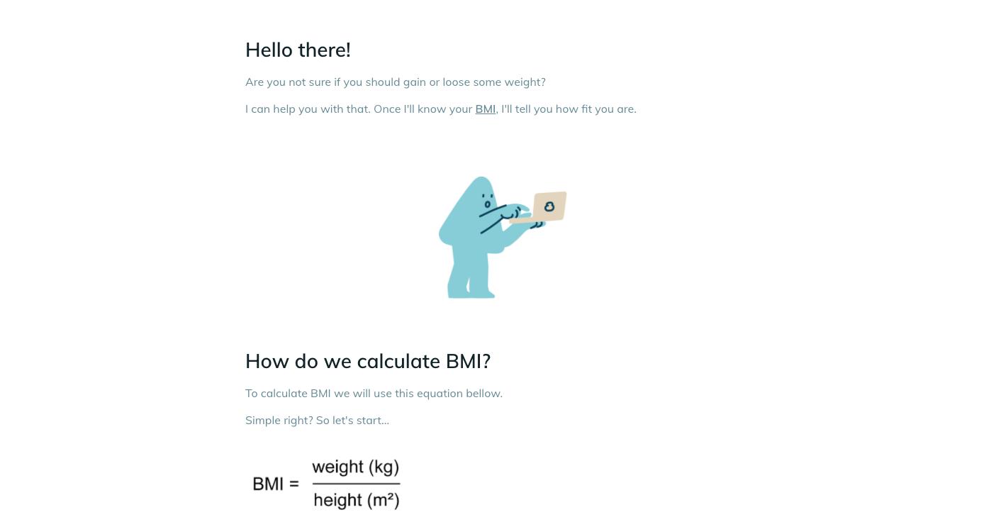 Template example of a BMI calculator