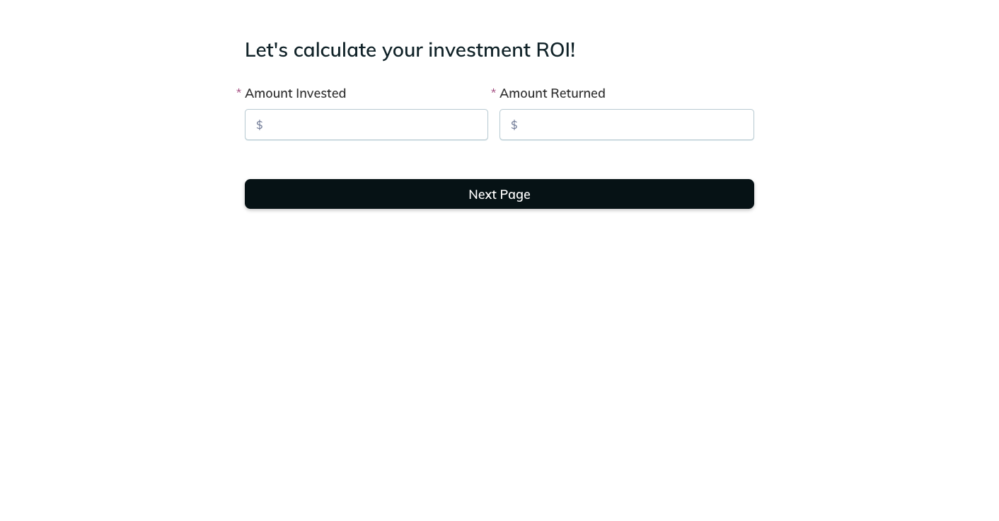 Template example of a ROI calculator