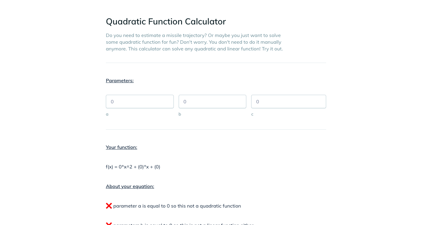 Template example of a Quadratic Functions calculator
