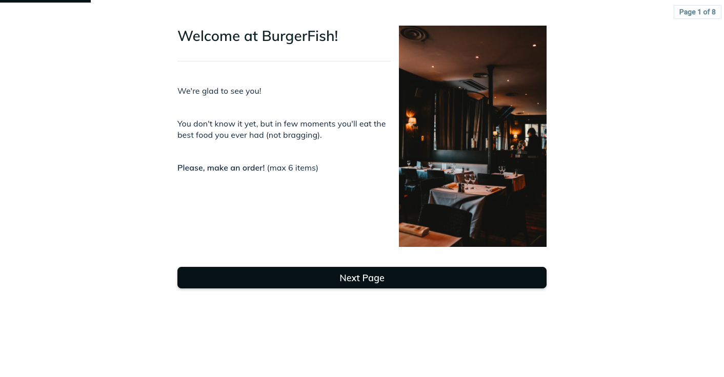 Template example of a restaurant ordering form