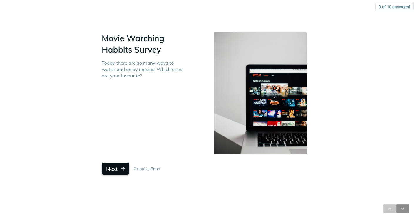 Template example of a movie watch list survey
