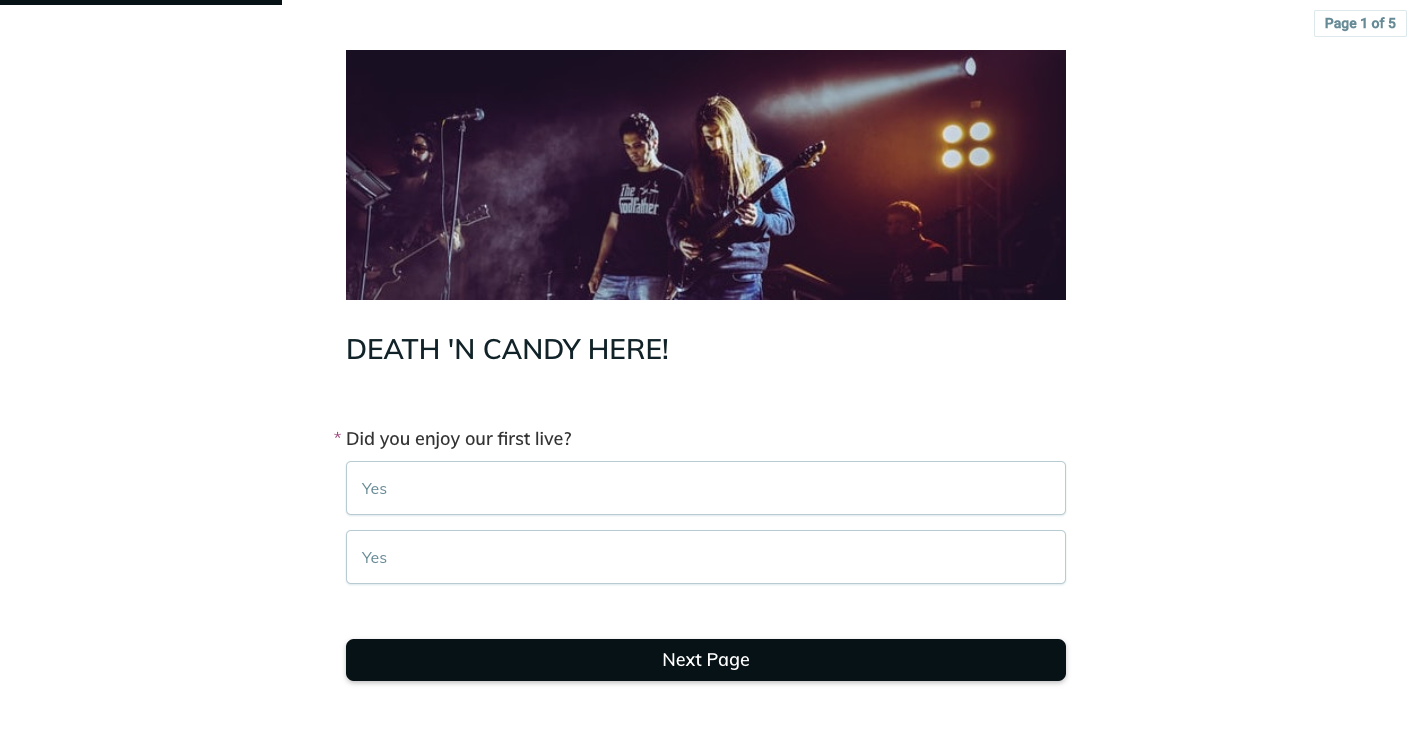 Template example of a live event feedback form