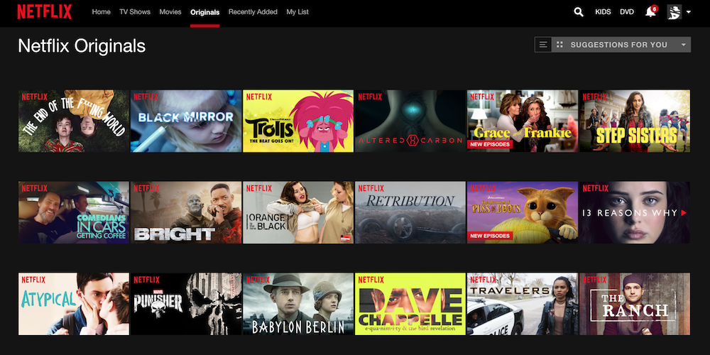 Personalized Content Example -  Netflix