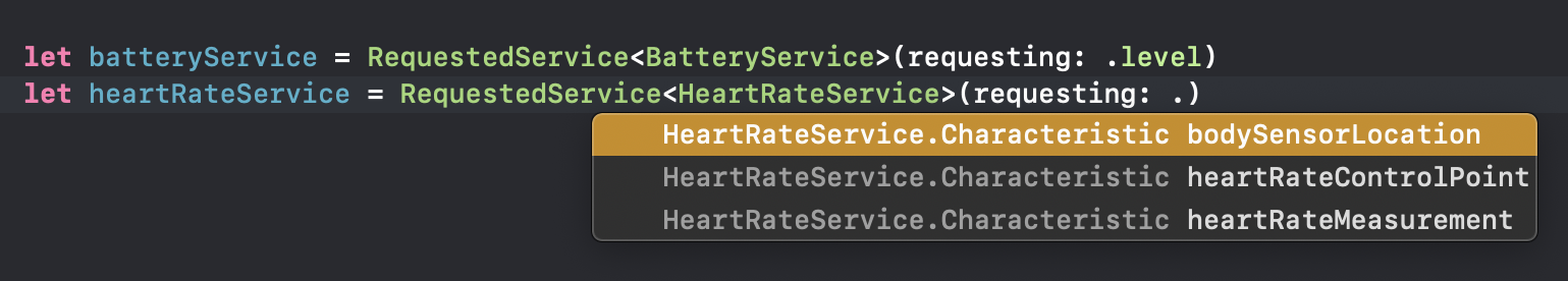 Swift's autocompletion feature providing type constrained options