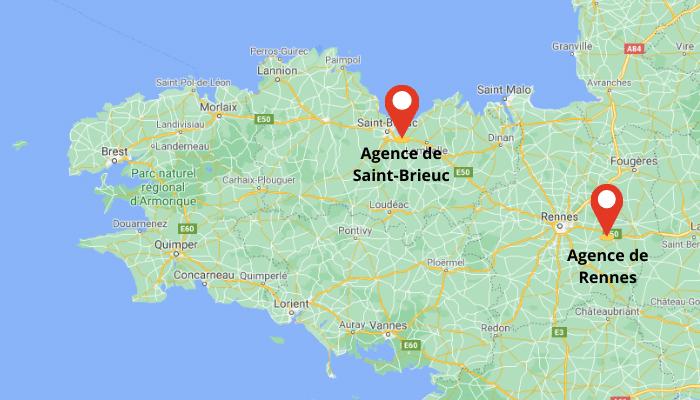 map avec les 2 agences