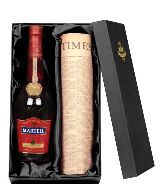 Brandy Martell VSOP Cognac and Newspaper