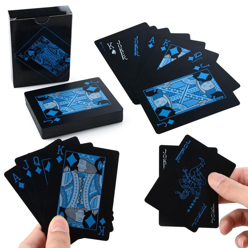 AEOFUN Creative Black Plastic PVC Poker Waterproof Magic Playing Cards Table Game Set