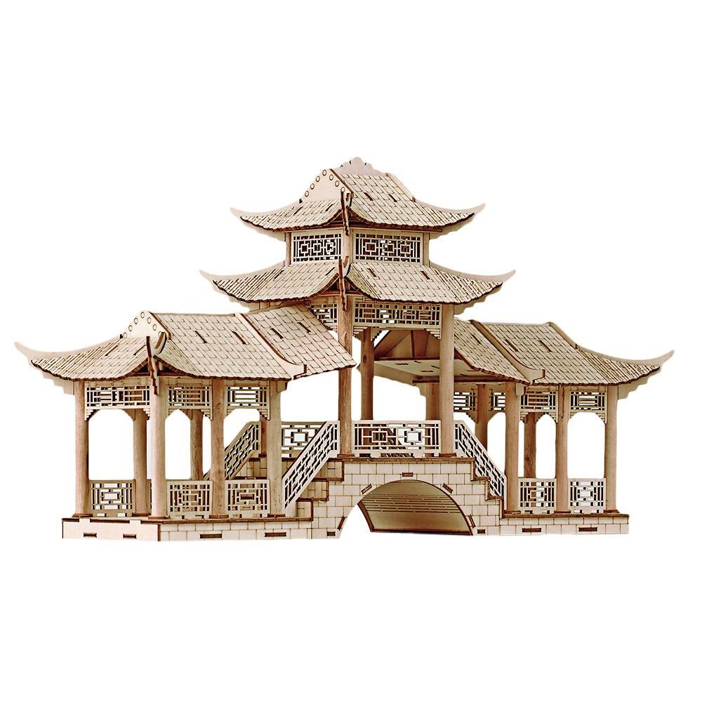 3D Ancient Architectural Model Simulation Puzzle Gallery Bridge