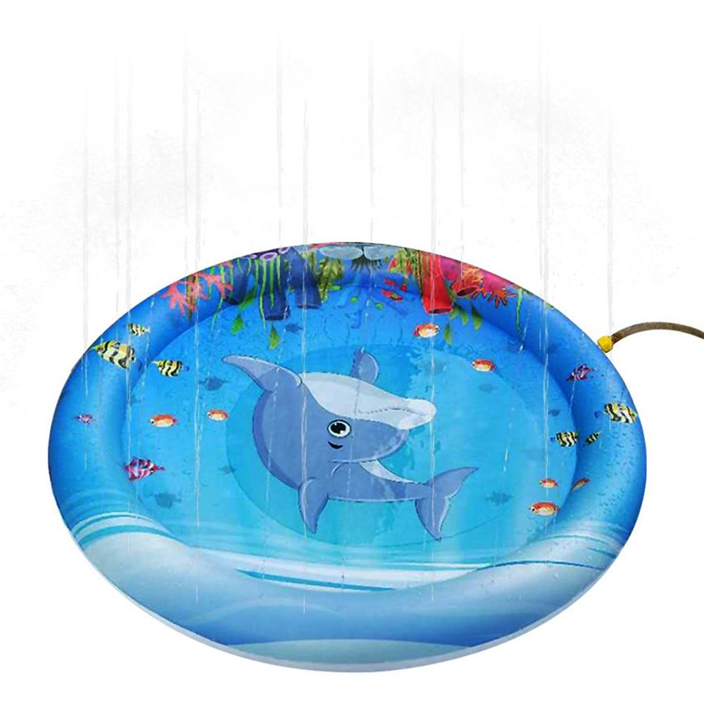 Inflatable Dolphin Pattern Sprinkler Pad Water Splash Play Mat for Children