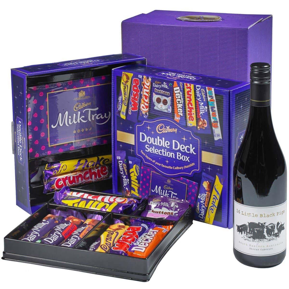 Cadbury Selection Box & Red Wine Gift