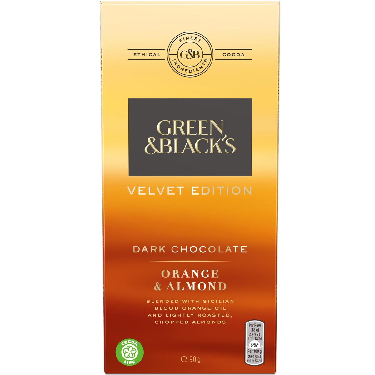 G&B's Roasted Almond Dark Choc 90g Bar Box of 18