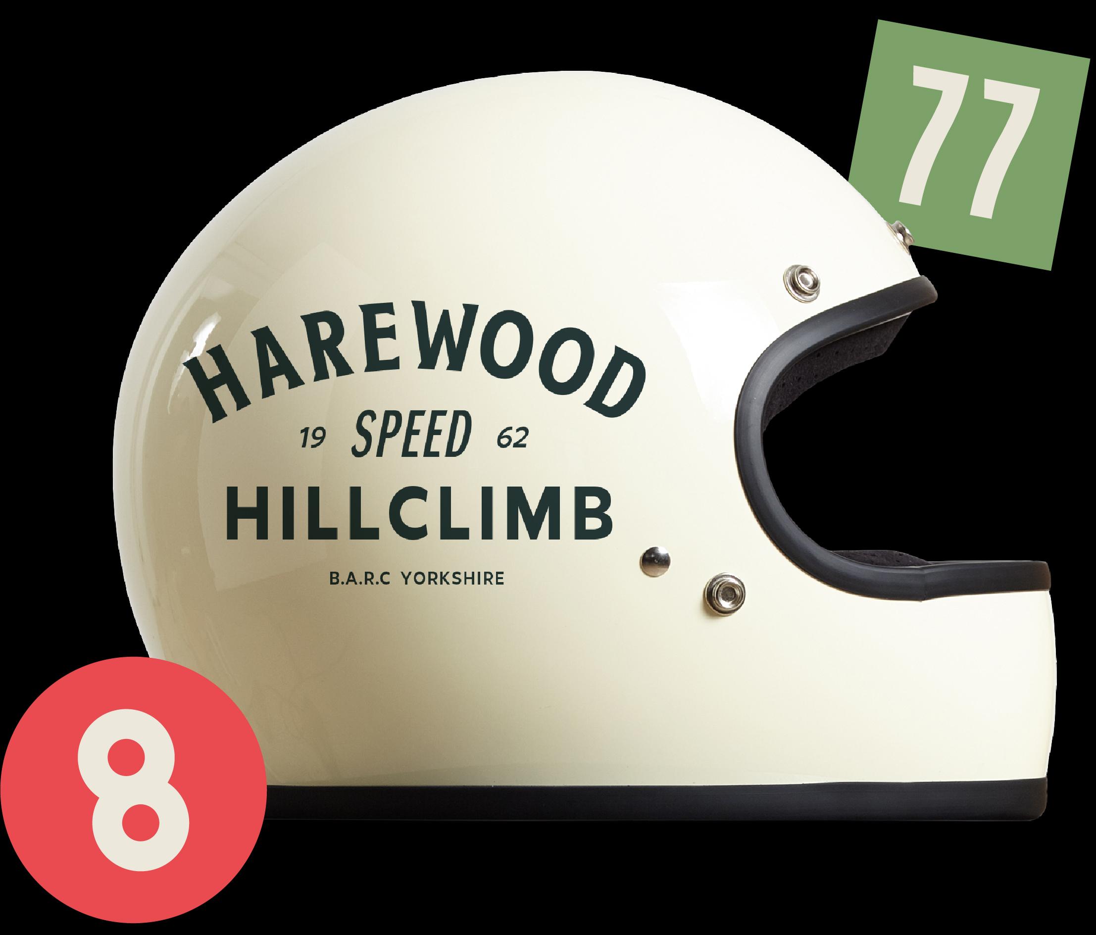 harewood hillclimb helmet and stickers