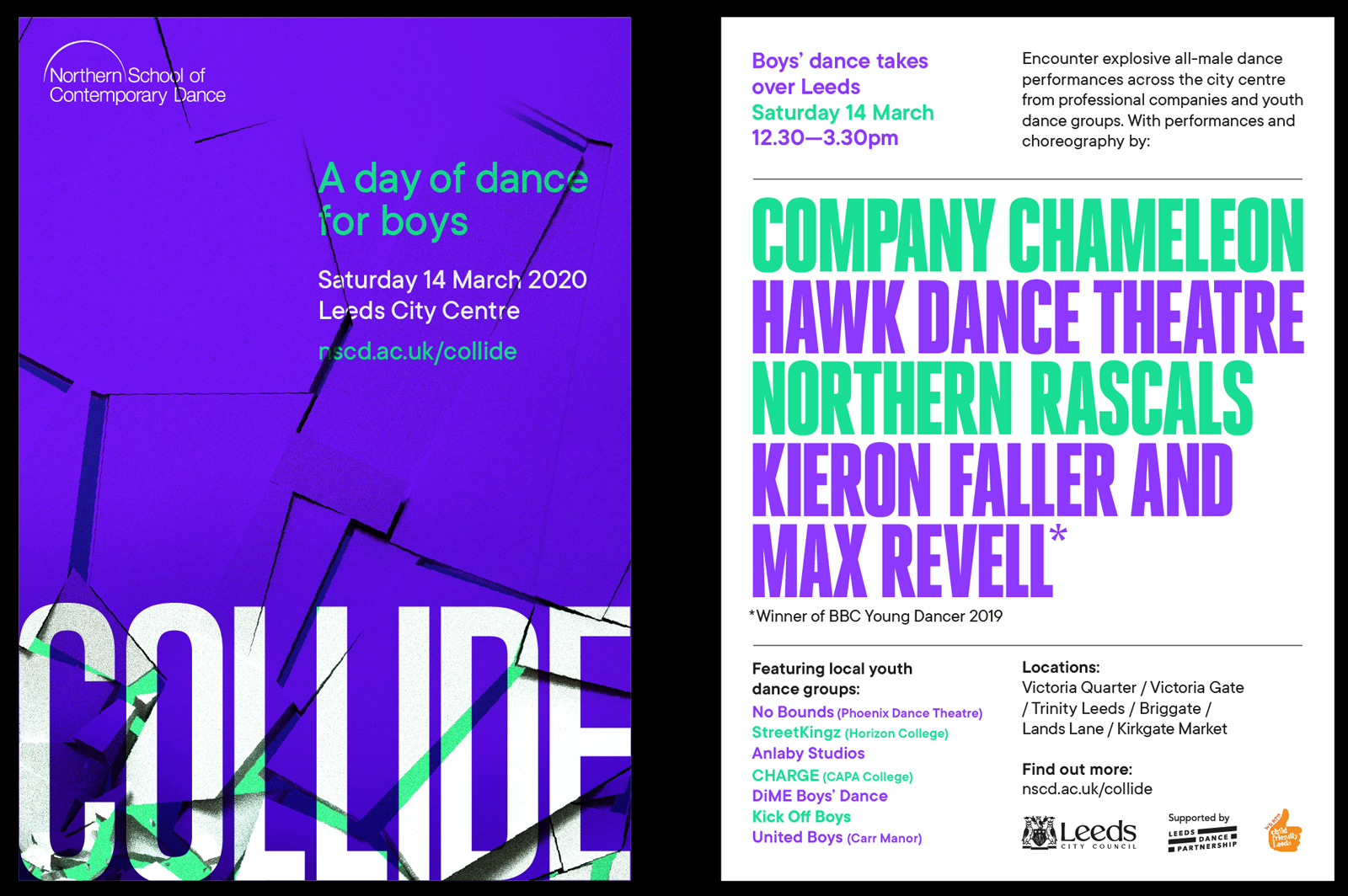 northern school of contemporary dance collide flyers