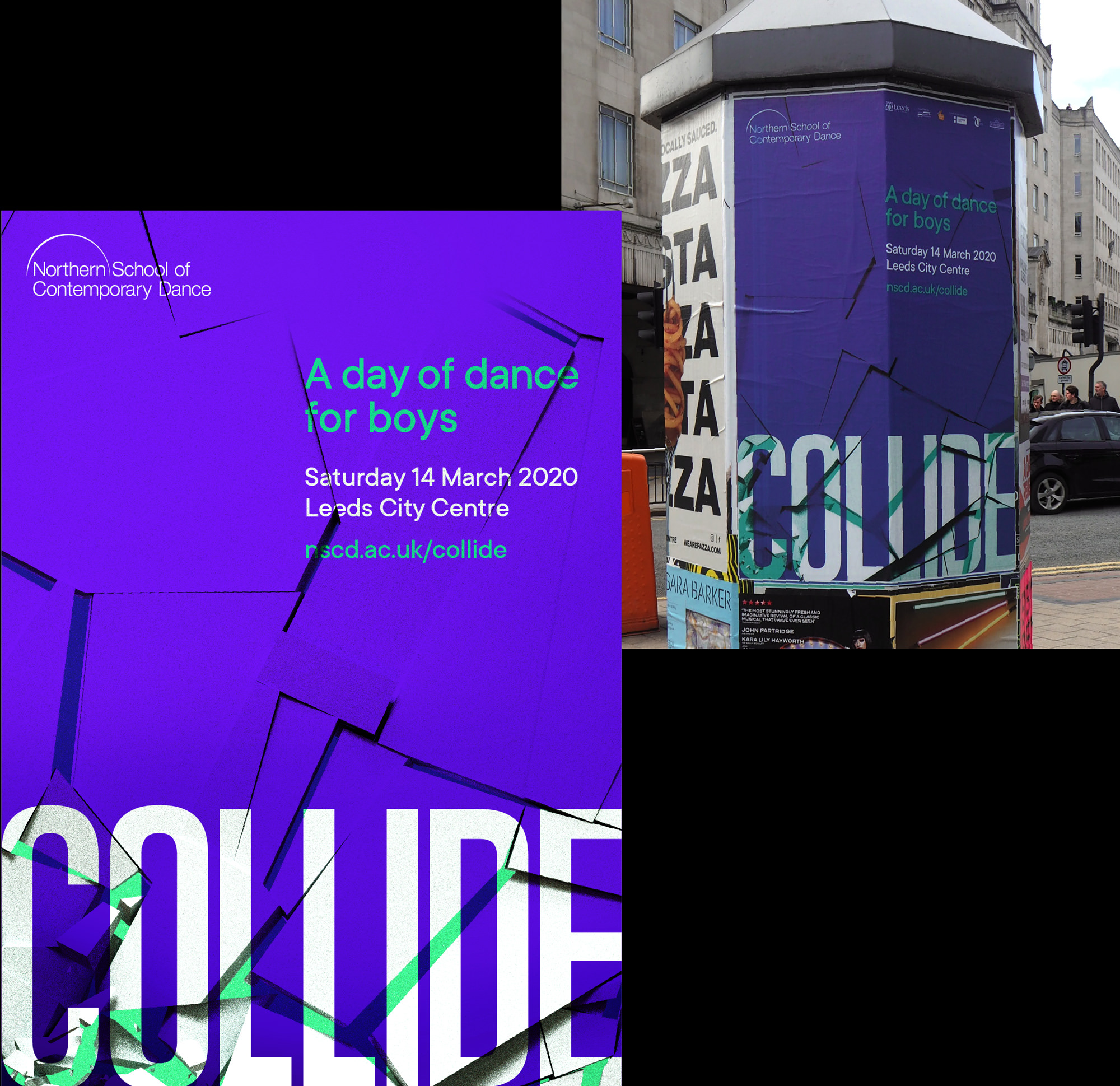 northern school of contemporary dance collide poster design