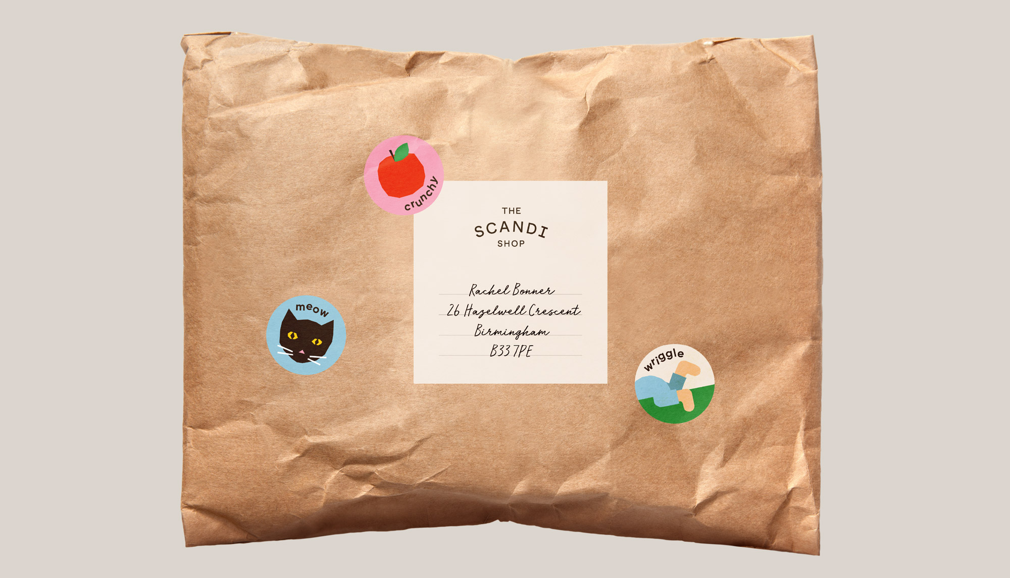 the scandi shop packaging design and stickers
