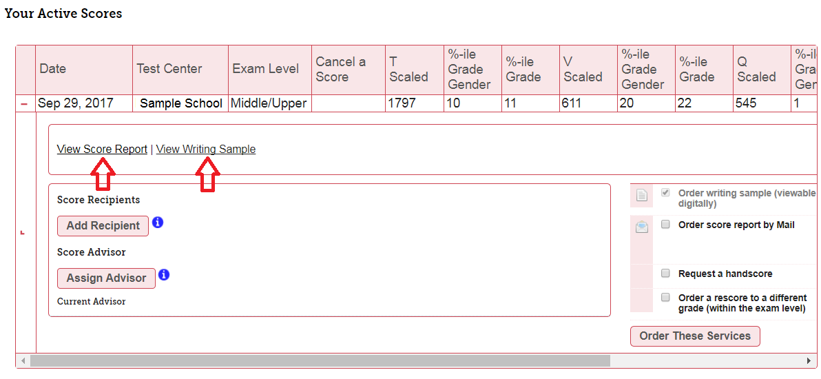 your active scores portal screenshot
